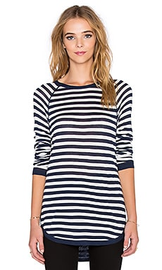 Splendid Easel Contrast Stripe Top in Navy & White
