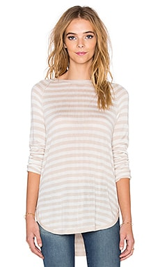 Easel Contrast Stripe Top in Wheat & White