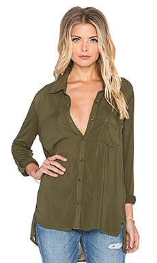 Splendid Rayon Voile Shirting Button Up in Olivine