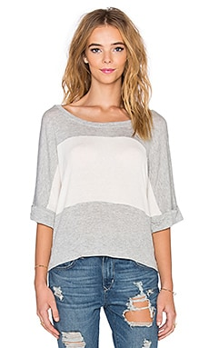 Splendid Color Blocked Drapey Lux Top in Heather Grey & Bone