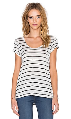 Splendid Striped Speckled Melange Tee in Heather White & Black