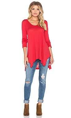 Splendid Slub Oversized V Neck Tee in Currant