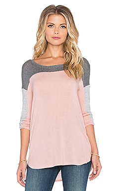 Splendid Color Blocked Drapey Lux Long Sleeve Top in Dusty Rose & Steel & Heather Grey