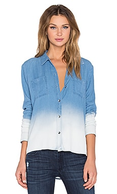 Rayon Crosshatch Long Sleeve Button Up in Medium Wash Ombre