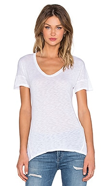 Slub Jersey Scoop Neck Tee in White