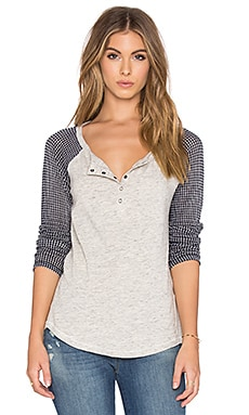 Splendid Chalet Mix Media Button Front Tee in Navy
