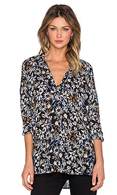 Splendid Cedarwood Floral Long Sleeve Top in Black