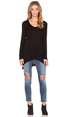 Splendid Slub Oversized V Neck Tee in Black
