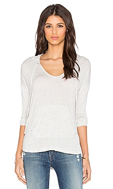 Splendid Drapey Lux Hooded Long Sleeve Tee in Perla