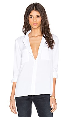 Splendid Rayon Crosshatch Long Sleeve Button Up in White