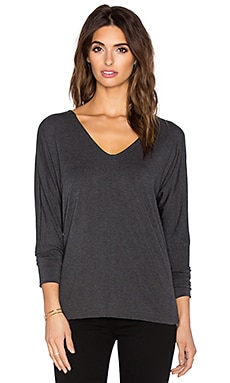 Tencel Jersey V Neck Tee in Charcoal