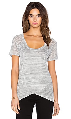 Splendid Cross Front Tee in Heather Grey