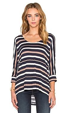 Splendid Mojave Shine Stripe Long Sleeve Dolman Tee in Navy
