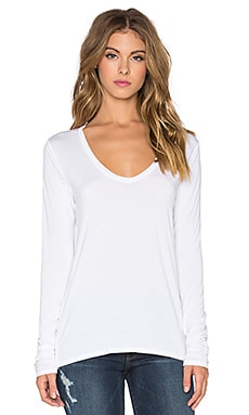 Splendid Rayon Jersey V-Neck Long Sleeve Tee in White
