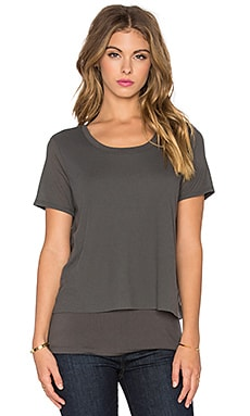 Feather Rib Cozy Jersey Tee in Gunmetal