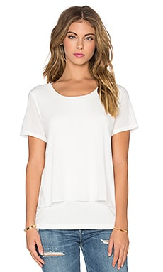 Splendid Feather Rib Cozy Jersey Tee in Soft White