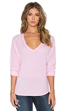 Splendid Vintage Whisper Long Sleeve V-Neck Tee in Vintage Blush