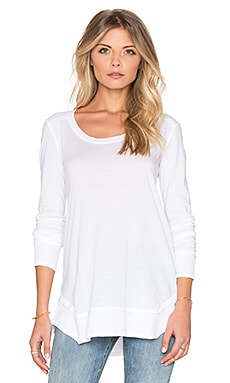 Splendid Very Light Jersey & Thermal Long Sleeve Loose Tee in White