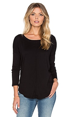 Splendid 1x1 Long Sleeve Swing Tee in Black