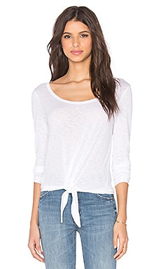 Splendid Slub Jersey Long Sleeve Tie Front Top in White