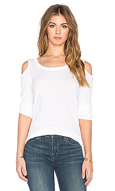 Splendid Vintage Whisper Cold Shoulder Tee in Paper