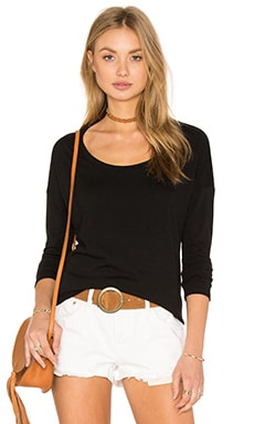 Splendid Feather Rib Cozy Jersey Long Sleeve Tee in Black