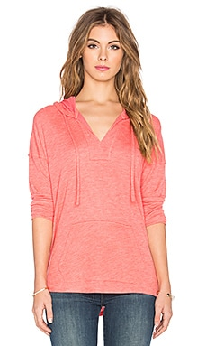 Alcove Double Face Jersey Long Sleeve Hooded Tee in Coral Pink