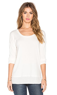 Splendid Feather Rib Cozy Jersey Long Sleeve Tee en Blanc Doux