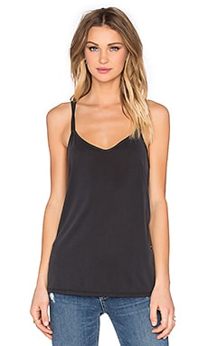 Splendid Sandwash Jersey Cross Back Tank in Black & Charcoal