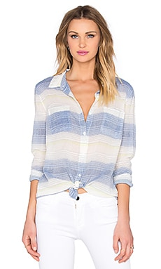 Splendid Ocean Park Stripe Button Down Top in Cobalt