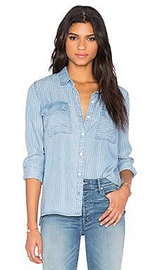 Splendid Faded Pinstripe Button Down in Light Wash