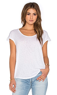 Slub Jersey Short Sleeve Dolman Top in White