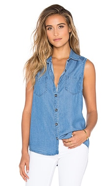 Splendid Chambray Button Down Tank in Medium Wash