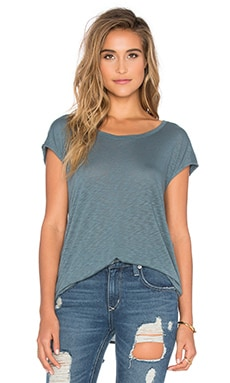 Slub Tee with Slit in Antique Green