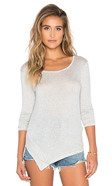 Splendid Winward Micro Stripe Long Sleeve Top in Heather Grey