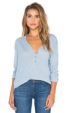Heathered Long Sleeve Top in Faded Denim