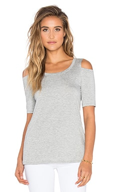 Splendid Rayon Jersey Open Shoulder Top in Heather Grey