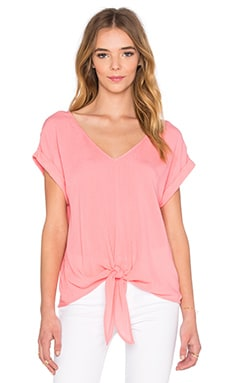 Splendid Crinkle Gauze Tie Front Top in Sunkissed Pink