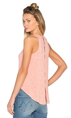 Heathered Jersey Slit Back Tank in Heather Coral
