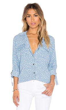 Paradiso Indigo Floral Button Down in Light Wash