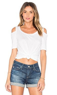 Splendid Rayon Jersey Open Shoulder Top in White