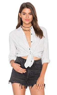 Marina Pinstripe Buttondown Shirt in Natural