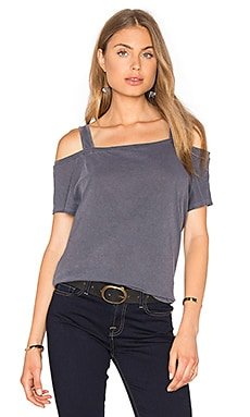 Vintage Whisper Open Shoulder Top in Lead