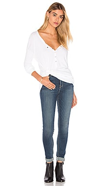1x1 Half Button Up Top en Blanc
