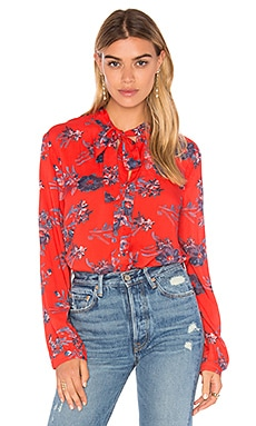 Cindelle Floral Print Long Sleeve Blouse en Poppy