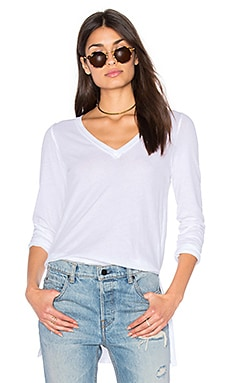 Vintage Whisper Long Sleeve V Neck Top en Blanc