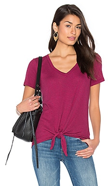 Codette Mini Variegated Rib Stripe Tied Waist Tee em Beetroot Pink