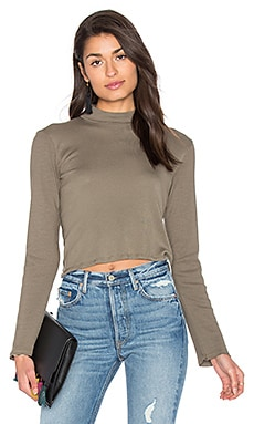 1x1 Cropped Turtleneck in Military Olive