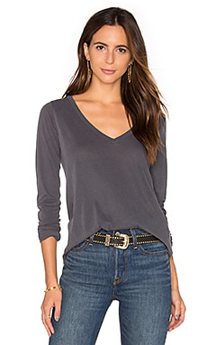 Vintage Whisper Long Sleeve V Neck Tee in Lead