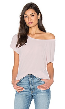 Heathered Scoop Neck Tee in Blush